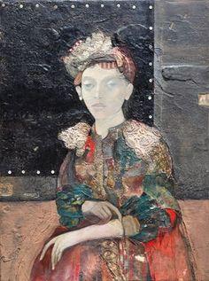 """Saatchi Art Artist Minas Halaj; Collage, """"""""Woman In Black Background"""""""" #art"""