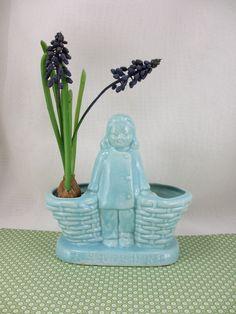 Blue Girl.  Vintage ceramic planter with kanji
