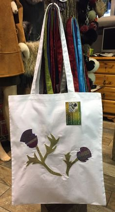 Scottish Thistle, Scottish Tartans, Handmade Shop, Etsy Handmade, Floral Tote Bags, Scottish Gifts, White Tote Bag, Reusable Bags, Natural Leather