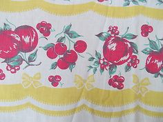 """VINTAGE 1950's FRUIT COTTON TABLECLOTH YELLOW BOWS  RED APPLES CHERRIES 48""""X 52"""""""