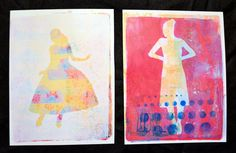 Journal girl gelli plate prints- love the layering!! art journal, mixed media inspiration.