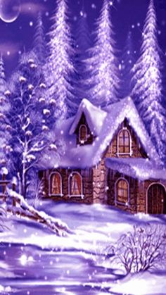 Frohe Festtage an alle! Christmas Scenery, Purple Christmas, Winter Scenery, Elegant Christmas, Vintage Christmas Cards, Christmas Pictures, Christmas Art, Beautiful Christmas, Winter Christmas