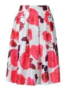 Red Rose Print Midi Skirt in White