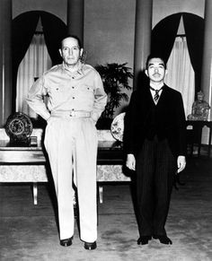 Gaetano Faillace's photo of General MacArthur and Emperor Hirohito at Allied GHQ in Tokyo. September 17, 1945. McArthur treated Hirohito without any of the ceremony accorded to the Emperor by Japanese traditions, which, in Japanese eyes, was a grave affront. But only weeks after Hiroshima and Nagasaki there was little room for Japanese protests.