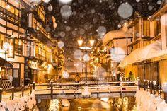 """""""雪降る銀山""""  秋保で撮る予定が雪まったく無くて勢いで銀山行ってきました!  念願の雪降る中の銀山温泉を撮ることができて幸せ♪"""