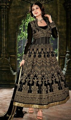 Look fabulously stunning and beautiful on wearing this black georgette embroidered Anarkali dress. Beautified with lace and resham work. #FabulousBlackEmbroideredALineCutAnarkali