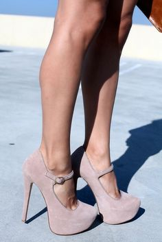 Nude Mary Jane Pumps ♥ even though i would probley kill myself wearing these :O)