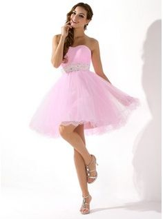 A-Line/Princess Sweetheart Short/Mini Tulle Homecoming Dress With Beading Sequins (022020909) - JJsHouse