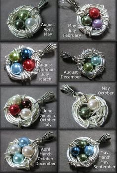 Bird's Nest Birthstone Necklace Custom Bird Nest Pendant Mother's Jewelry Grandmother's Jewelry Moth - DIY Jewelry Crafts Ideen Mom Jewelry, Custom Jewelry, Jewelry Crafts, Beaded Jewelry, Handmade Jewelry, Wire Jewelry Making, Simple Jewelry, Beads And Wire, Clay Beads