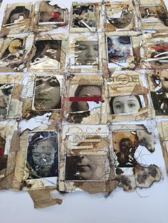 mixed media, photography, textiles, stitch, found paper, distressed