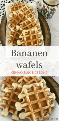 Recipe in Dutch for sugar-free banana waffles Just Desserts, Delicious Desserts, Dessert Recipes, Yummy Food, Happiness Is Homemade, Banana Waffles, Healthy Baking, Sweet Recipes, Dutch Recipes