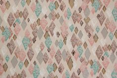 1950's Vintage Wallpaper Pink Brown Aqua and Gold Metallic Harlequin Mid Century