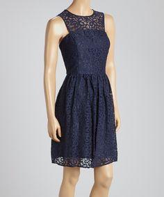 This Gabby Skye Navy Lace Yoke Dress by Gabby Skye is perfect! #zulilyfinds