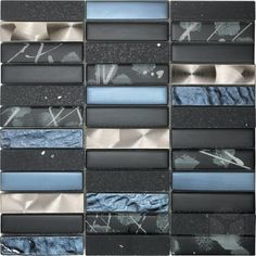 Artist Grey Glass and Stone Blend Mosaic Tile #grey_glass_mosaic_tile #stone_blend_mosaic_tile
