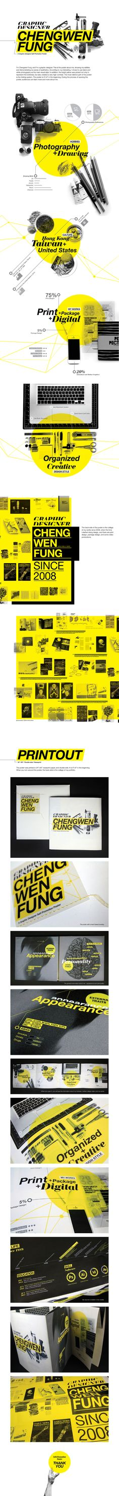 Self-Promotion poster by CHENGWEN fung, via Behance.  Nice web type and branding all-around.  #branding #typography