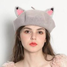 5a64b650cccada Cosplay cat wool beret hat with ears for teenage girls gray winter hats