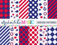 Red and Navy Nautical Themed Digital Paper Pack by DreamlikeMagic, $2.50