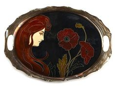 Handled tray with Art Nouveau maiden and poppy flowers, designed by Carl Sigmund Luber, glazed earthenware, metal frame, 16.5 in. long  |  SOLD $854 July 24, 2011 Sunset Estate Auction