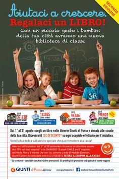 Aiutaci a crescere, regalaci un libro! Arriva alla seconda edizione l'iniziativa estiva promossa dalle librerie Giunti al Punto. http://www.ultimariga.it/portale/?p=5530
