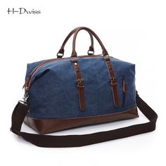 HDWISS Vintage Canvas Men Women Luggage Travel Bags Duffel Duffle Bag Carry  on Hand Luggage Trolley ee9f5e3ca698a