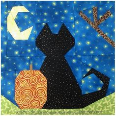 cat pumpking Halloween Paper Piecing Pattern