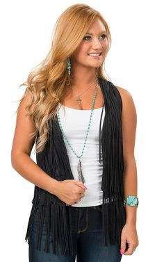 Rock & Roll Cowgirl Women's Black Suede with Fringe Vest   Cavender's