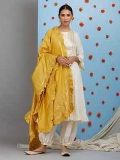 Off White Cotton Silk Pleated Kurta with Pants and Mustard Yellow Dupatta- Set of 3 White Punjabi Suits, White Salwar Suit, White Kurta, Salwar Suits, Party Wear Indian Dresses, Pakistani Dresses Casual, Dress Indian Style, Silk Kurti Designs, Kurti Designs Party Wear