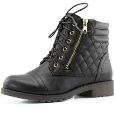 Amazon.com: DailyShoes Women's Military Lace Up Buckle Combat Boots Ankle High Exclusive Credit Card Pocket, Black Pu, 9: Shoes
