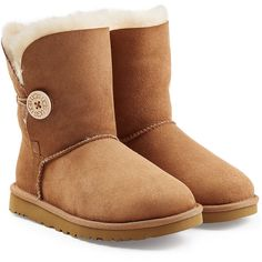 UGG Australia Bailey Button Suede Boots ($195) ❤ liked on Polyvore featuring shoes, boots, ugg, brown, brown button boots, brown boots, suede shoes, rounded toe boots and brown shoes