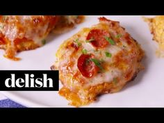"""Cauliflower Pizza Bites - LAZ notes - DELICIOUS!  Janna and Keith both liked them. We preferred them when they were flattened quite a bit - thinner """"crust""""."""
