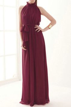 Off-shoulder Lace-up Burgundy Pleated Maxi Dress