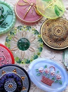 Vintage Czech Art Glass Buttons /  {via my vintage vogue on pinterest}