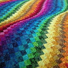 #rainbow #batik #bargello quilted for a customer today.
