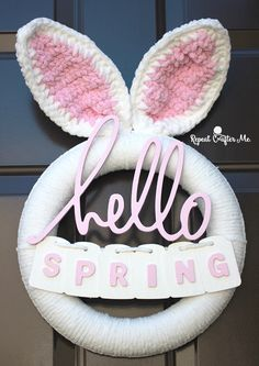 Have and hour or two available for crafting? Here's project is one you can whip up in an afternoon! This Crochet Spring Bunny Wreath is about as simple as it can get and so festive for the Easter holi