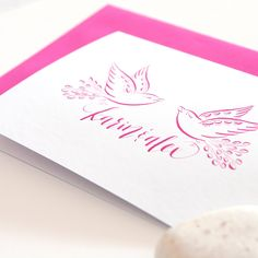 Loving Birds - personalized | Fingertips Calligraphy Handwritten - no print! Perfect for V-Day ♥