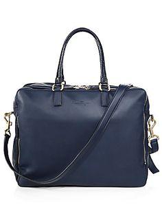 Salvatore Ferragamo Berlino 24-Hour Leather Double-Zip Duffle Bag