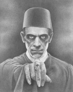"greggorysshocktheater: ""Karloff as Imhotep/Ardath Bey John Ulakovic "" Classic Monster Movies, Classic Horror Movies, Classic Monsters, Science Fiction, Hollywood Monsters, Beautiful Dark Art, Horror Monsters, Horror Icons, Famous Monsters"
