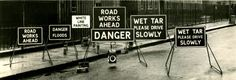 """furtho: """" Manufacturers' photograph of roadworks signs (via Claude R Ball) """" The joy of signs. Signage, It Works, Joy, London, Photograph, Photography, Glee, Billboard, Photographs"""
