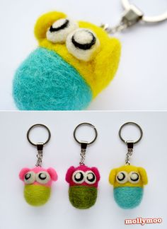 Needle Felting - the basic techniques and tools needed to make these cute character keyrings | MollyMoo