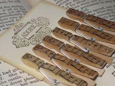 Vintage Music Petite Clothespins