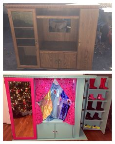 Dress up clothes wardrobe my husband and i turned this for Upcycled entertainment center