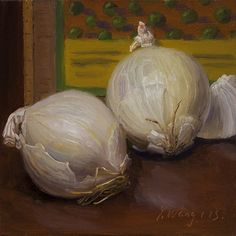 Original Oil Painting Still Life Onion Daily Painting A Day Realism 6x6 Y Wang | eBay