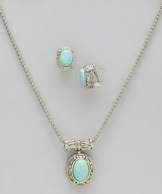 Take a look at this Simulated Turquoise Pendant Necklace & Earrings by Regal Jewelry on #zulily today!