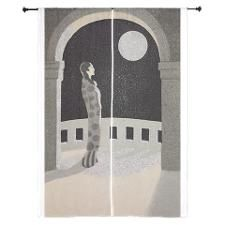 Japan, Woman, Moon, Vintage Poster Curtains