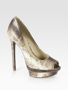 BRIAN ATWOOD  Animal Florencia Snake-print Leather and Suede Platform Pumps
