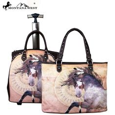 Montana West 2 PC Luggage Set Horse Art-Laurie
