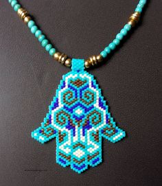 Necklace Fatima's Hand Beaded Necklace Star by NazoDesign