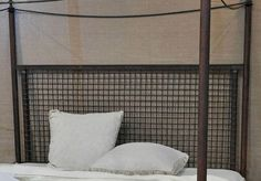 """Grid Bed. Limited Series King bed. From old and new parts. 60"""" headboard height, 88"""" overall height. Also available in Queen. $2950."""