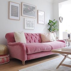 The sofa can be a real stand out piece in any interior. We love this pink sofa - the rest of the space has been kept neutral to let it stand out.