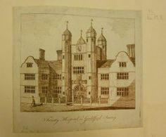 From the Maps and Visions blog post 'Cataloguing of the King's topographical collection'. Image: Trinity Hospital in Guilford, Surrey, etching around 1780.